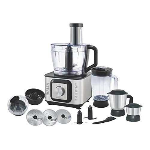 Inalsa Food Processor INOX 1000-Watt With Blender Jar / 304 Grade SS Dry Grinding / Chutney Jar / 12 Accessories | 2 Yr Warranty on Motor |Centrifugal/ Citrus Juicer | (Black/Silver)