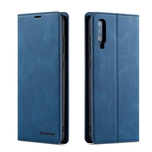 QLTYPRI Hülle für Samsung Galaxy A70, Premium Dünne Ledertasche Handyhülle mit Kartenfach Ständer Flip Schutzhülle Kompatibel mit Samsung Galaxy A70 - Blau