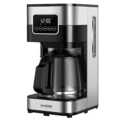 SHARDOR Drip Coffee Maker, Touch-Screen Programmable  Coffee Machine, Automatic Start and Shut Off, Brew Strength Control, Warming Plate, 50.72oz(1.5L)