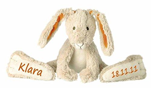 Elefantasie Stofftier Hase mit großen Füßchen mit Namen und Geburtsdatum personalisiert Geschenk beige orange 31cm
