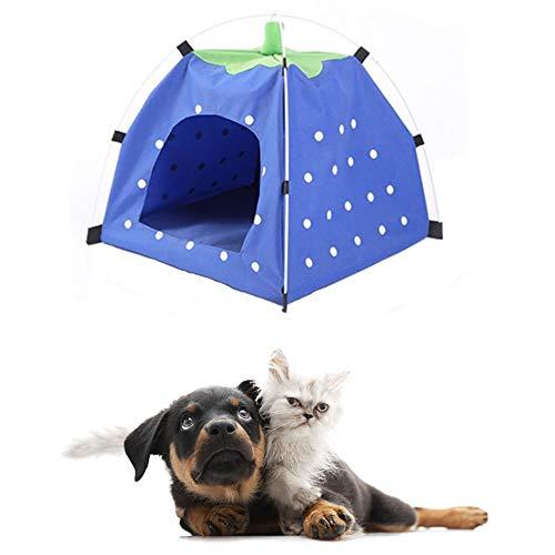 hanbby Casitas para Gatos Tienda de campaña para Perros Caseta de Perro al Aire Libre Plegable Cama de Gato Interior Casa de Perro Blue