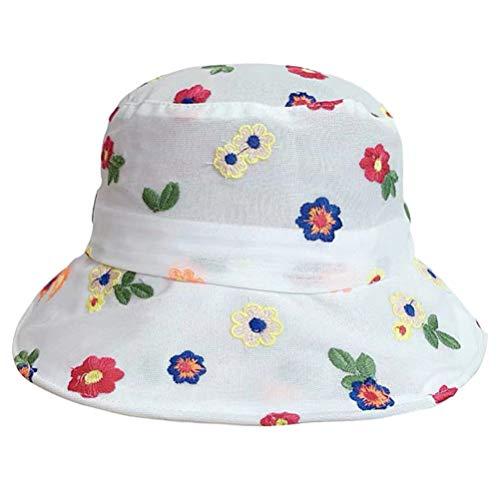 NONE Blumeimer Hut UV Lichtschutz Sommerkappe Breite Krempe Sonnenkappe für Mädchen Reisen Outdoor-Aktivitäten Weiß