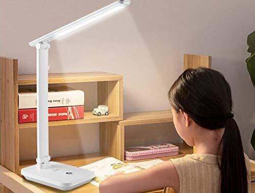 DAMIGRAM Lampada da Tavolo LED, Lampada Scrivania Dimmerabile, 3 Intensità Luminose Regolabili, 5 Temperature di Colore, Pieghevole Touch Controllo, Porta di Ricarica USB LED a Risparmio Energetico