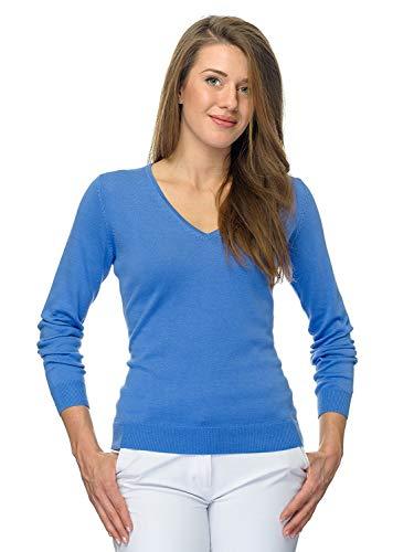 JELFY MILENA dames trui met lange mouwen v-hals, 100% PIMA katoen, marine