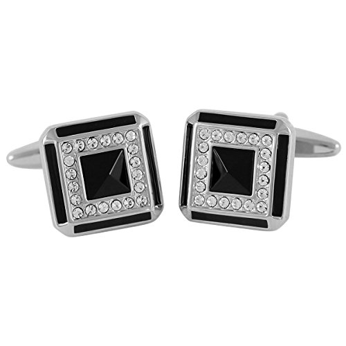 Lindenmann Classic G.CHABROLLE Cufflinks/Cuff Buttons, Silvery with Onyx/Crystal, Gift Box, 301