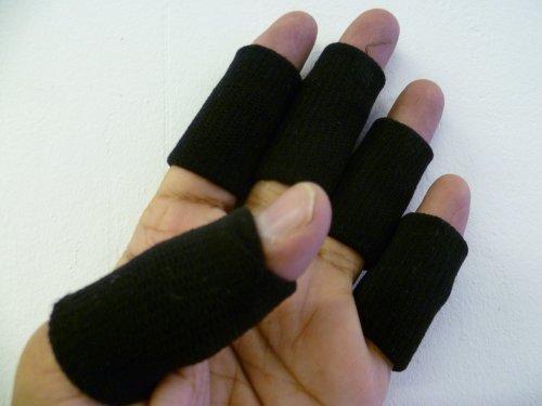 10 x Black Finger Sweatbands by Hisp