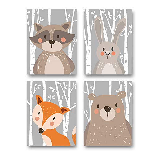 Juego de 4 pósteres para habitación de bebé, tamaño DIN A4, decoración para habitación infantil, animales del bosque, safari, escandinavo (oso, conejo, zorro) Base gris.