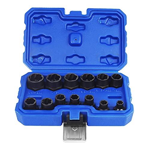 Estone 1/4 5/16 3/8 10 7/16 12 1/2 9/16 5/8 17 11/16 3/4 'tuerca de extracción Sets 13 PC con caja de almacenamiento azul Kit herramienta