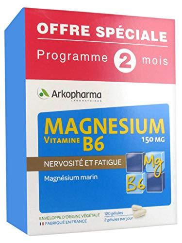 Arkopharma Magnésium Vitamine B6 150 mg Lot de 2 x 60 Gélules