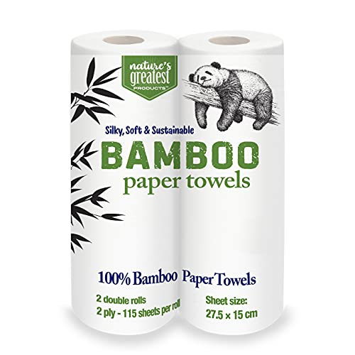 Natures Greatest, 100% Bamboo & Sugarcane Kitchen Paper Towels, 2 Ply, 115 Sheets, 2 Rolls, Packaging May Vary