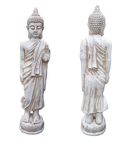 Large Standing Buddha Ceramic Garden Outdoor Indoor Statue Ornament Rustic 85cm