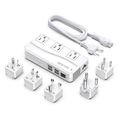 Power Converter BESTEK 220V to 110V 3-Outlet and 4-Port USB Travel Voltage...