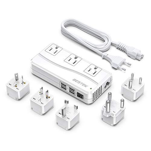 BESTEK International Power Adapter 250W, 220V to 110V Step Down Travel Voltage Converter with 4-Port USB Including US/AU/EU/UK//India/South Africa Plug Adapter