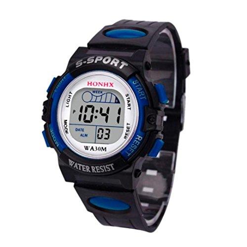 Winkey Herren-Armbanduhr, wasserdicht, digitale LED-Sportuhr, Alarm, Datumsanzeige, Geschenk für Kinder Band blau