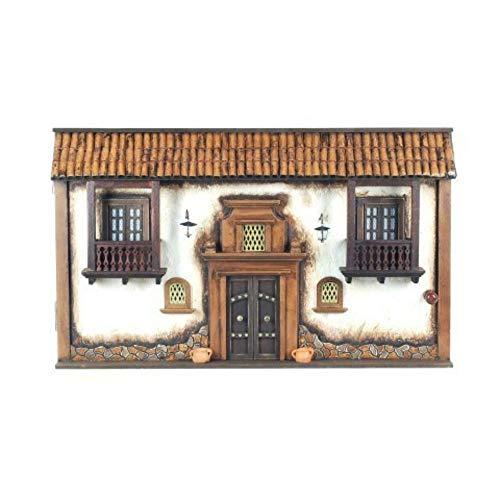 CAPRILO Tapa Contador Pared Decorativa de Madera Caserio. Guardallaves. Cajas Multiusos. Decoración Hogar. Regalos Originales. 30 x 50 x 10 cm.