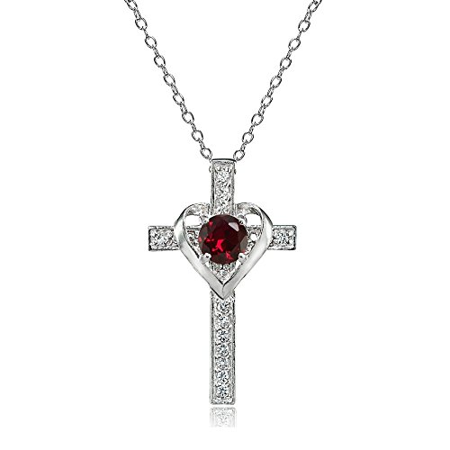 Sterling Silver Synthetic Ruby and White Topaz Heart in Cross Necklace for Women Girls