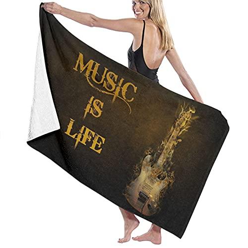XINGAKA Toallas de baño,de Playa,Música Heavy Metal, la música es vidaMuy Absorbente y Suave, Adecuado para hogares de Yoga, Fitness, Camping y Deportes al Aire Libre...