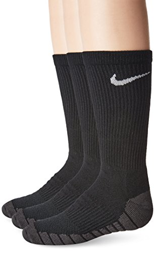 NIKE Kids' Unisex Everyday Max Cushion Crew Socks (3 Pairs), Black/Anthracite/White, Small