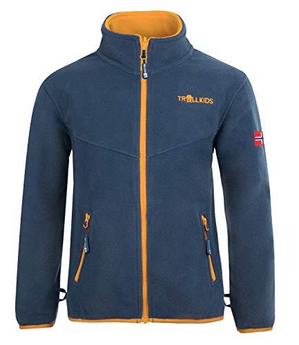 Trollkids Kinder Oppdal XT Fleece Jacke, Mystikblau/Goldgelb, Größe 152
