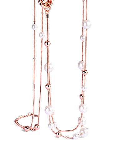Aundiz Vergoldet Halskette Perle Kette Kugel Kette Zubehör Kette Pullover Kette 80Cm Lang Damen Halskette