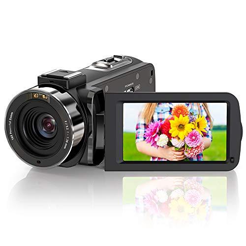 ZORNIK Videocamera, IR visione notturna, telecamera video HD 1080P 36MP 16X Zoom digitale 3,0 pollici LCD 270 gradi, schermo girevole Vlogging (3051LRM-02)