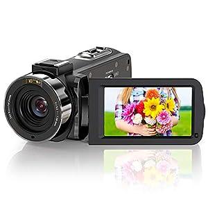 ZORNIK Videocamara,Vlogging cámara IR Visión Nocturna HD 1080P 36MP 16X Zoom Digital 3.0 Pulgadas LCD 270 Grados Rotativo Cámara (3051LRM-02)