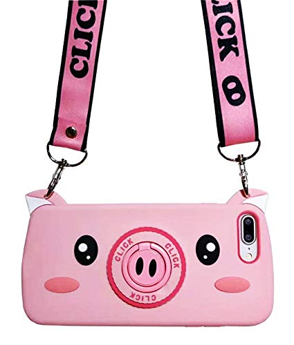 UnnFiko Pig Case with Stand Holder Compatiblewith iPhone 6/ iPhone 6s, Cute Animal Ring Holder Kickstand Soft Silicone Protective Cover with Long Shoulder Strap (Pig Pink, iPhone 6 / 6s)