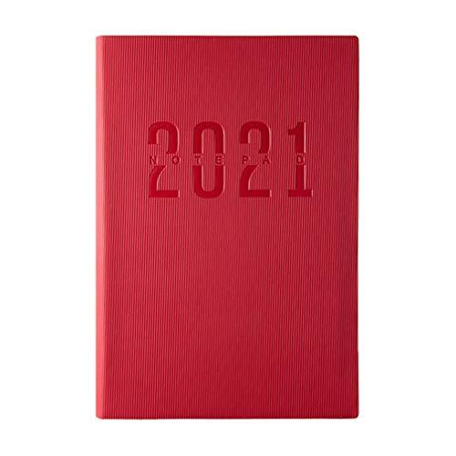 VALICLUD Cuaderno de Diario 2021 Bloc de Notas de Plan Diario 2021 Diario Rojo Vintage A5 Cuaderno Forrado para La Oficina de La Escuela Viaje Y Agenda de Planificación
