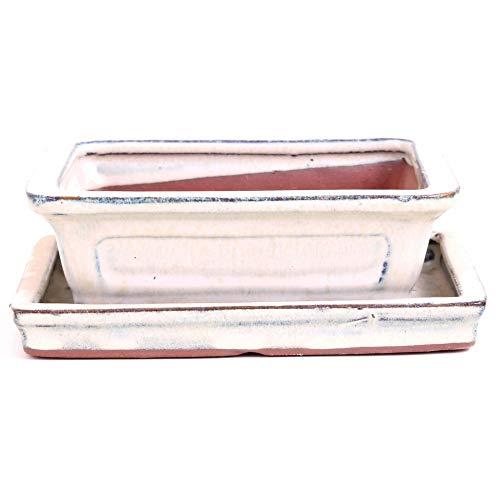 Bonsaï – Bol Rectangulaire avec soucoupe 16,5 x 13 x 5,5 cm, crème 23114