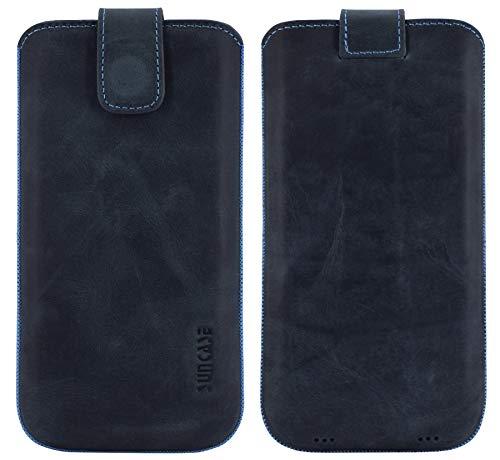 Suncase ECHT Ledertasche Etui kompatibel mit Fairphone 3 Hülle (passend nur mit der MITGELIEFERTE Bumper) Pebble Blue