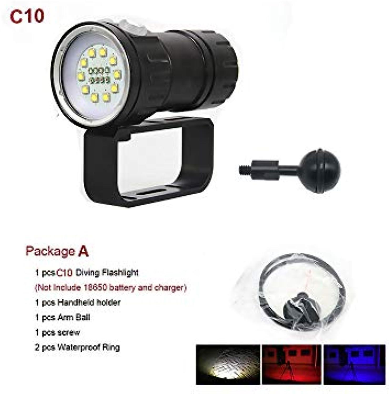LED Tauchen Taschenlampe Unterwasser 80M XHP70   L2 Pography Videokamera Taschenlampe Blau + Weie LED Lanterna Torch, C10