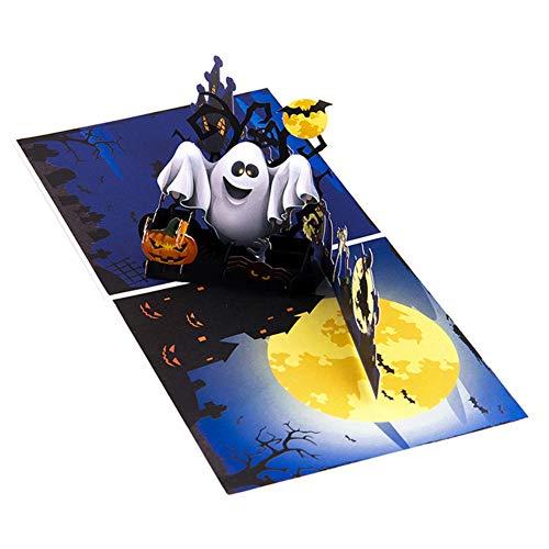 Balai 2 Stück Halloween Süßes oder Saures-Karte, Farbdruck Kürbis und Ghost 3D Popup Halloween-Karte Süßes oder Saures-Grußkarte - Einladungsumschlag inklusive