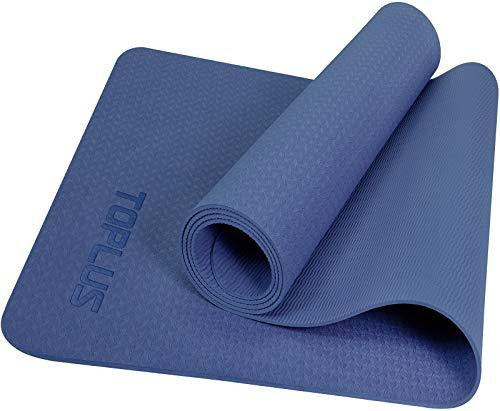 TOPLUS Yogamatte Gymnastikmatte Trainingsmatte Übungsmatte mit Tragegurt rutschfest gut für Anfänger bei Yoga für Fitness, Pilates & Gymnastik, 183 x 61 x 0,4 cm,Blau