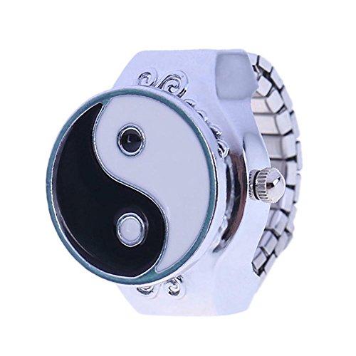 Reloj de pulsera de moda vintage elástico redondo para dedo unisex
