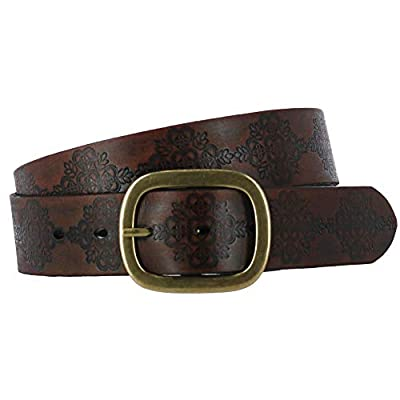 Roper Women's Embossed Buffalo Leather Belt Brown Large