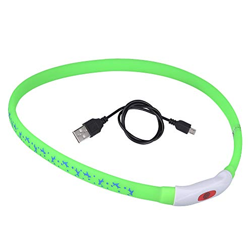 DIAOPROTECT Hunde Leuchthalsband LED, USB Wiederaufladbares Hundehalsband Leuchtend Längenverstellbarer Haustier Sicherheit Kragen für Hunde und Katzen mit Hundemuster,3 Beleuchtungsmodi(70cm)