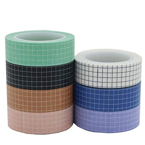 Washi Tape Set YuBoBo Grid Washi Masking Decorative Tapes 33 Feet per Roll for DIY Decor Planners Scrapbooking Adhesive School/Party Supplies 7 Rolls