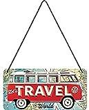 Nostalgic-Art, Cartel colgante retro, VW Bulli T1 –Travel The World – Idea de regalo de...