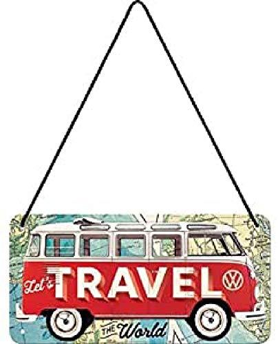 Nostalgic-Art, Cartel colgante retro, VW Bulli T1 –Travel The World – Idea de regalo de furgoneta Volkswagen, metálico, Diseño vintage, 10 x 20 cm