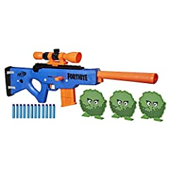 DART-BLASTING FORTNITE BLASTER REPLICA: The Nerf Fortnite BASR-R blaster is inspired by the blaster used in Fortnite, capturing the look of the one in the popular video game COMES WITH 3 BUSH TARGETS: Set up the 3 free-standing targets to practice yo...