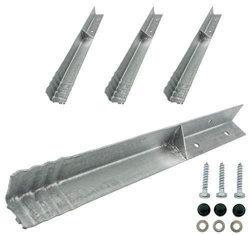 HOQ 4 x Sicherheits-Winkelanker 45x45x500mm Bodenanker Schaukelanker Spielturm Erdanker für Spieltürme, Schaukeln, etc.