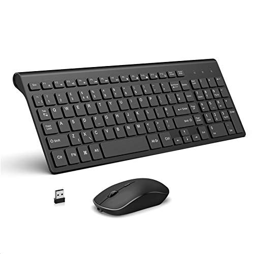 JOYACCESS Wireless Keyboard & Mouse, 2.4G Rechargeable Slim Keyboard and Mouse with Number Pad, Ergonomic Keyboard, for Windows PC/Smart TV/Laptop/Apple Mac (QWERTY UK Layout) - Black