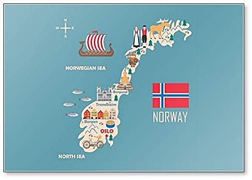Klassischer Kühlschrankmagnet, Motiv: Landkarte von Norwegen