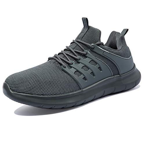 NewDenBer Sportschuhe Herren Atmungsaktiv Turnschuhe Leichtes Sneaker Laufschuhe (49 EU, Dunkelgrau)