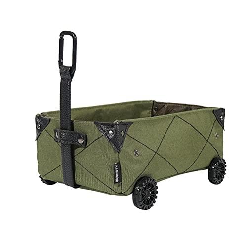 RUSTOO Carrito de compras de plástico plegable, caja de almacenamiento plegable de campamento,Para ir de compras de camping Pesca Festival Carro Trolley
