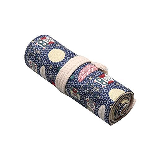 ペンケース 鉛筆収納ケース 鉛筆ホルダー キャンバス 筆箱 コンパクト 布製ロールケース 巻き型 くるくると巻く 帆布 持ち運びやすい スケッチ鉛筆 美術絵筆 可愛い シャールペン入れ 素敵 BICOOL (フクロウ, 72スロット(82*20cm))