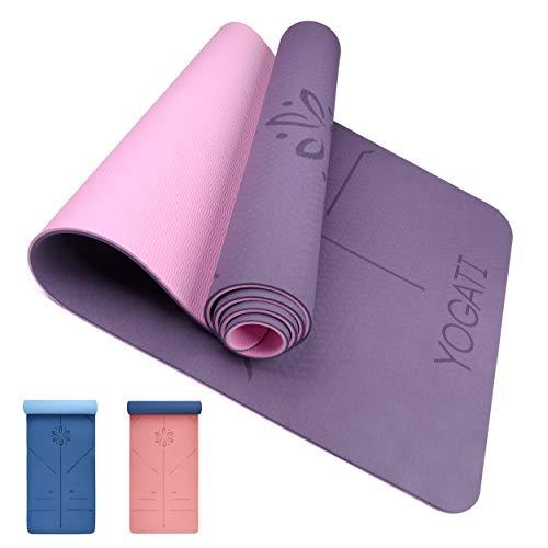 YOGATI Yogamatte rutschfest Schadstofffrei, mit Tragegurt. Yoga Matte mit Ausrichtungslinien für die Körperhaltung. Ideal Yogamatten als Gymnastikmatte, Sportmatte, Fitnessmatte, Jogamatte - Yoga mat
