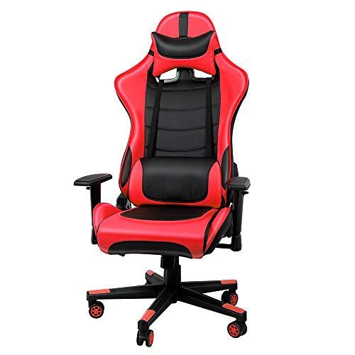 Gaming Stuhl, Racing Stuhl Sportsitz, Kunstleder Schreibtischstuhl, Bürostuhl Höheverstellbar Chefsessel, Drehstuhl mit Kopfkissen und Taillenstütze, Rückenlehne verstellbar bis 135° (Grün)