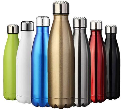 ZUSERIS Thermobecher Doppelwandige Trinkflasche Edelstahl Sportflasche Wasserflasche Camping Reisebecher Thermosflasche Haelt Getraenke 12 Stunden Kalt & 24 Heiß BPA Frei - (Gold, 350ml-12oz)