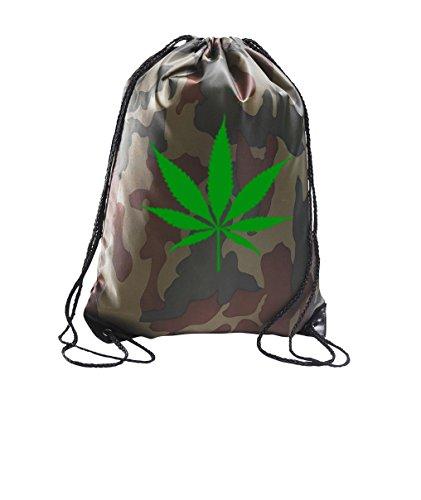 TRVPPY Sportbeutel Turnbeutel in der Farbe Camouflage Motiv Cannabis Weed